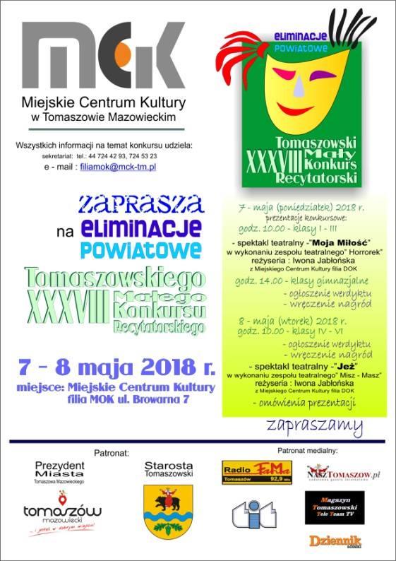 Eliminacje Powiatowe Tomaszowskiego XXXVIII Małego Konkursu Recytatorskiego