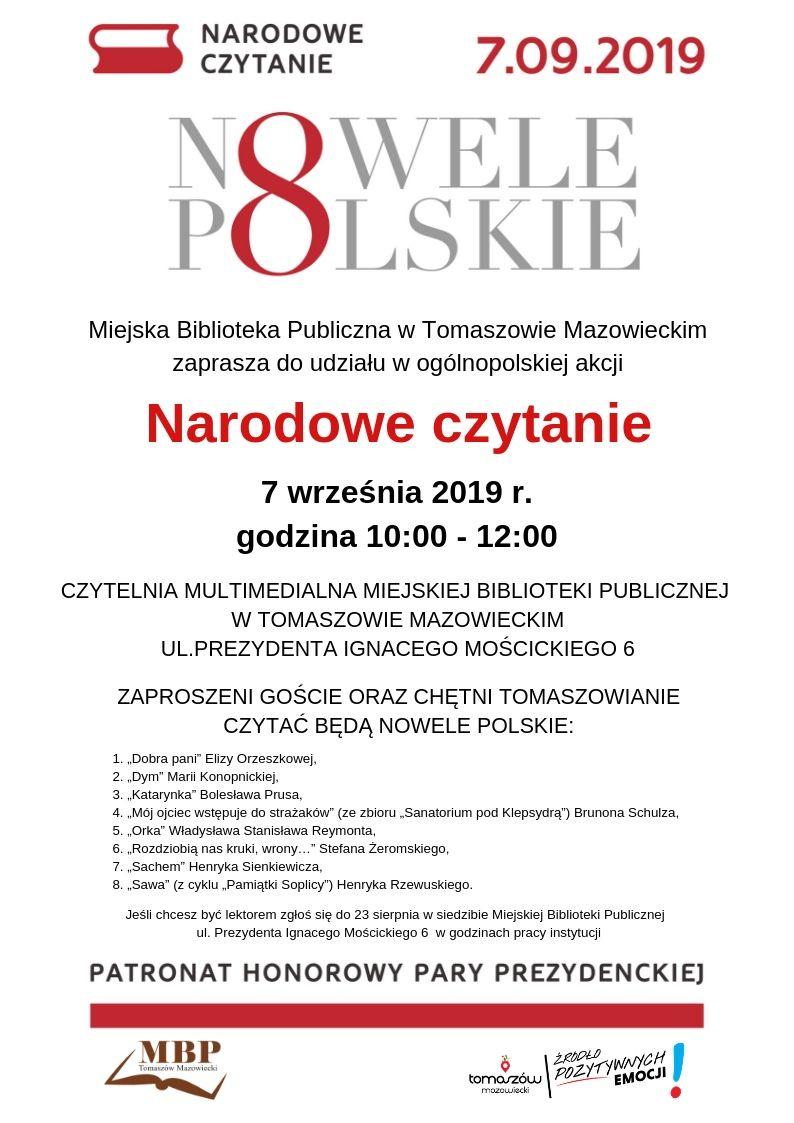 Narodowe Czytanie 2019 - Nowele Polskie