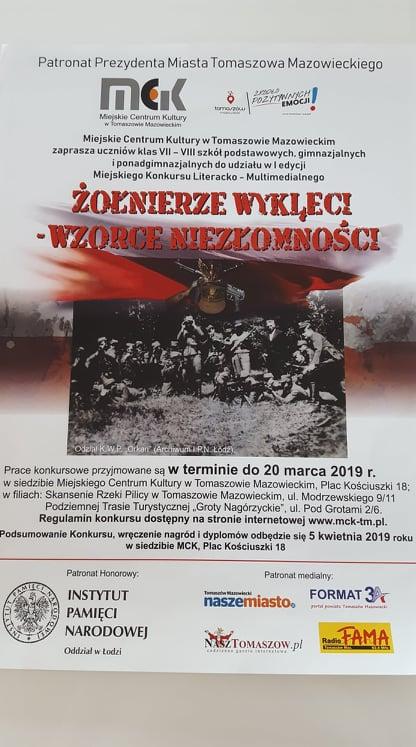 Żołnierze Wyklęci - Wzorce Niezłomności - I edycja Miejskiego Konkursu Literacko - Multimedialnego
